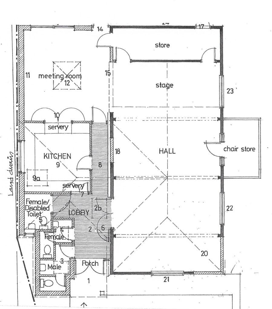 Floor plan of Stedham Village Hall